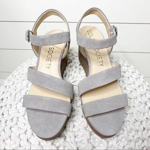 Sole Society Charvi Wedge Sandals Grey Suede 10M